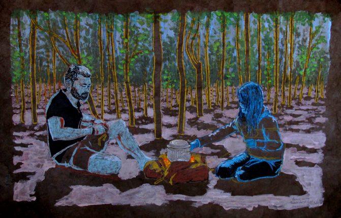 Caroline et Guillaume, feu de bois au Baïkal.